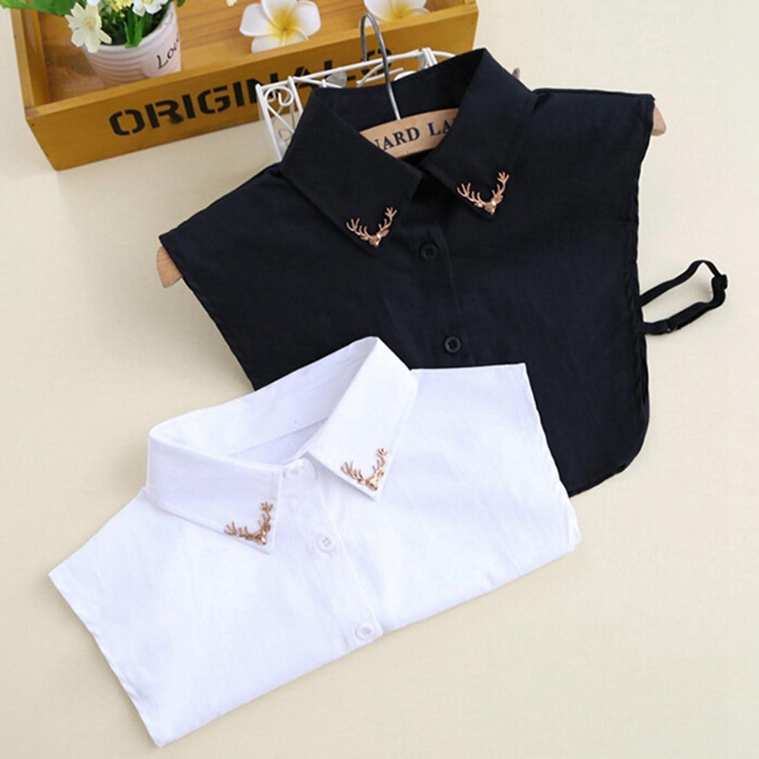 Free Shipping Women Fashion Fake Collar Shirt Metal Fawn Pattern Apparel Blouse False Collar White Black
