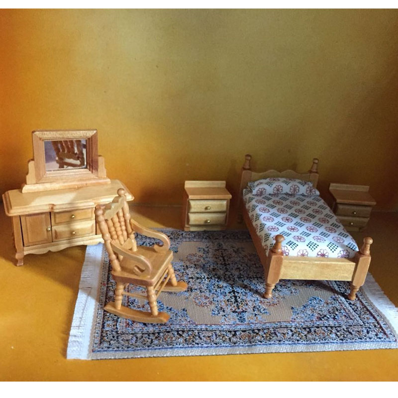 1 24 Dollhouse Furniture toy wooden Miniature bed chair Dressing table bedroom sets pretend play toys