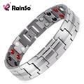 """Rainso bijuterias cura titanium bio fir magnética pulseira de energia para homens pressão arterial acessório 8.5 """"pulseiras de prata"""