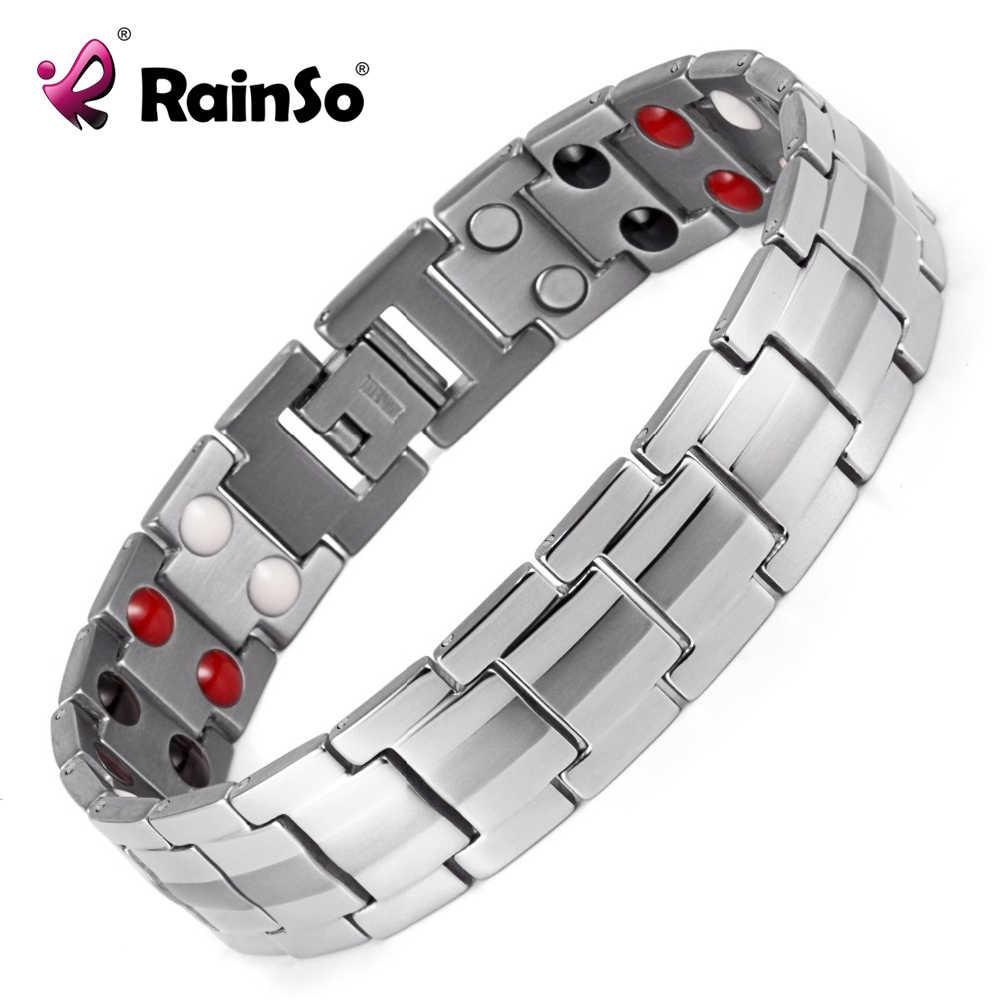 Rainso joyería de moda FIR curativo, pulsera magnética de titanio Bio energía para hombres, accesorios de presión arterial, pulseras 2020