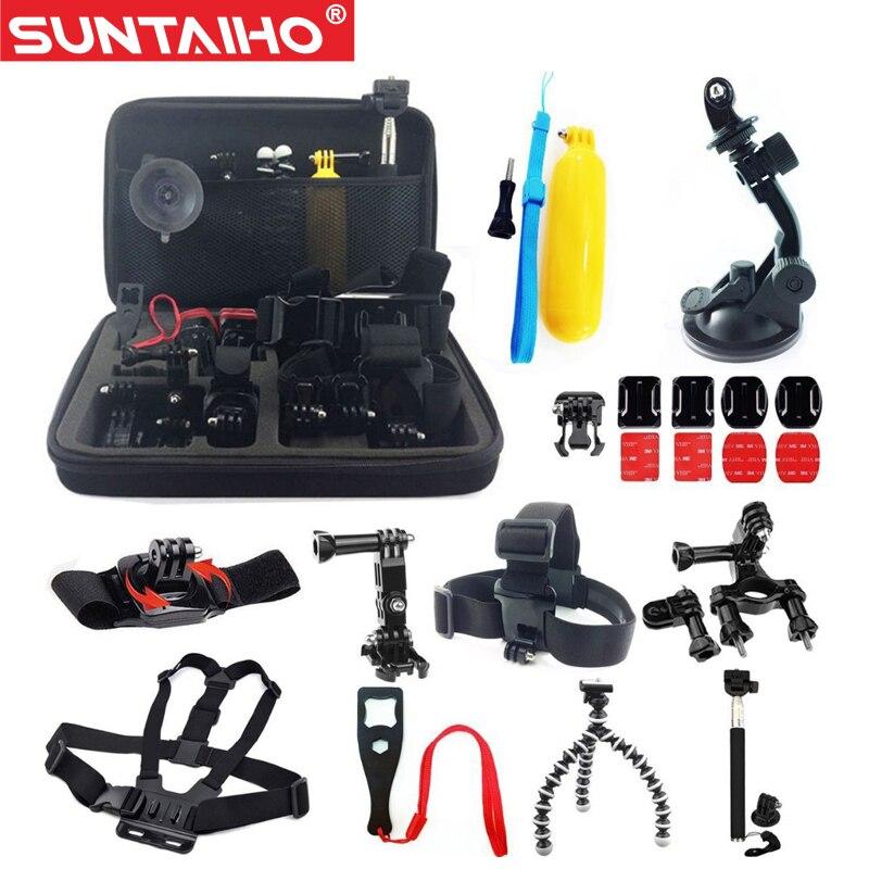 Prix pour Gopro Accessoires 24 en 1 Set Famille Kit Aller Pro SJ4000 SJ5000 SJ6000 accessoires pour Gopro Hero 3 3 + 4/XiaoMi Yi D'action caméra