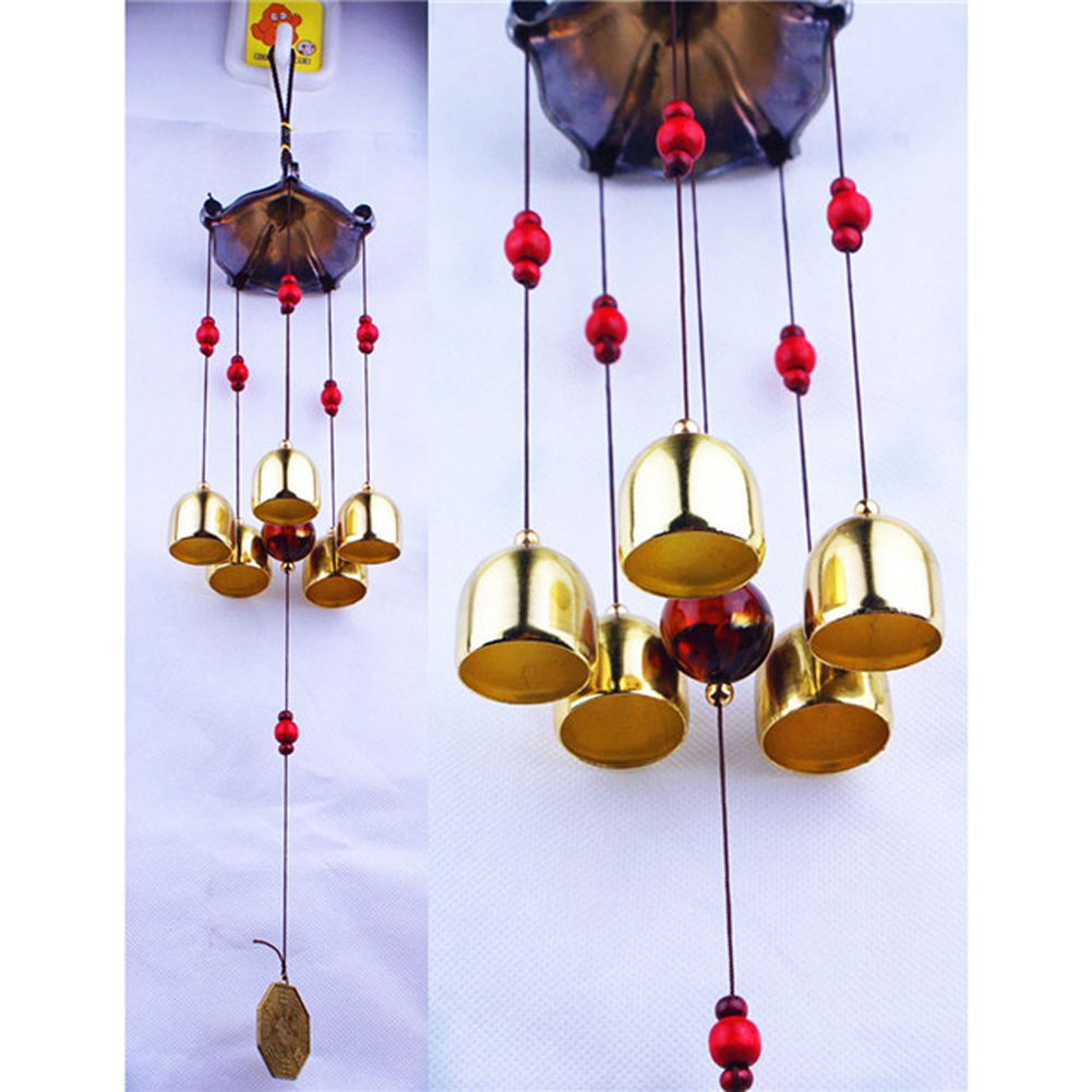 Copper 5 Bells Wind Chimes Pentagon Pavilion Feng Shui Decorations Windchimes For Outdoor Home Garden Yard Mascot Gifts In Hanging