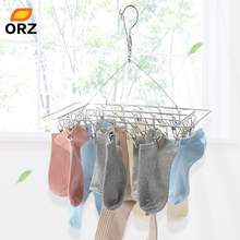 ORZ 30 Clips Socks Underwear Clothes Hanger Drying Rack Laundry Dryer Stainless Steel Hangers for Clothes Hat Rack Outdoor Airer цены онлайн