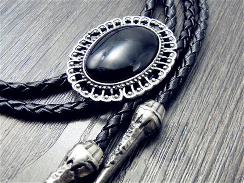 Bolo Tie Retro Shirt Chain Oval Imitation Of Obsidian Poirot Led Rope Leather Necklace Long Tie Hang