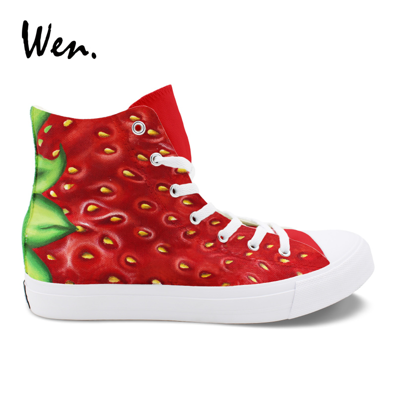 Wen Hand Painted Original Shoes Fruit Strawberry Unisex Design Custom Canvas Boy Girls Sports Sneakers High Top Skate Shoes