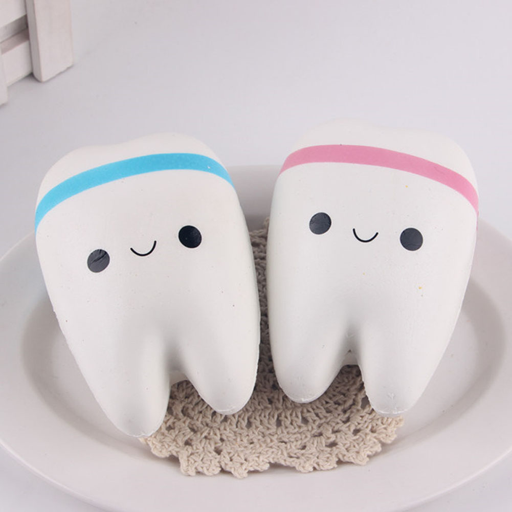 1pcs Kawaii Soft Cute Teeth Slow Rising Jumbo Squeeze Cell Phone Strap Key Chain Pendant Anti Stress Relief Toy