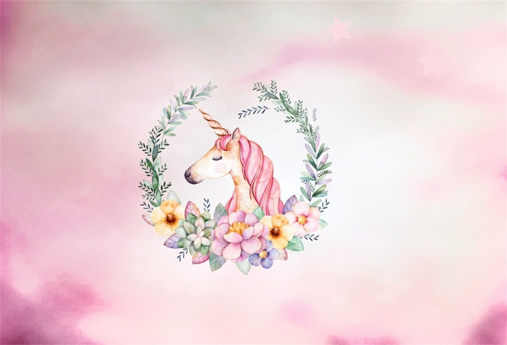 Laeacco Cartoon Unicorn Flowers Baby Birthday Party Photography Backgrounds Customized Photographic Backdrops For Photo Studio