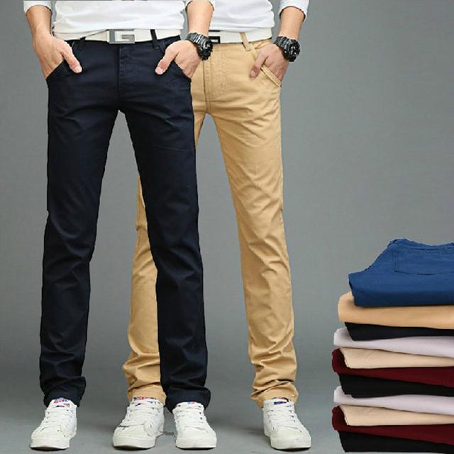 Envío Gratis 2017 Nuevos Hombres de la Llegada Pantalones Para Hombre Del Ajustado Casual Pantalones Moda Pantalones Rectos Flacos Pantalones Suaves 13M0572