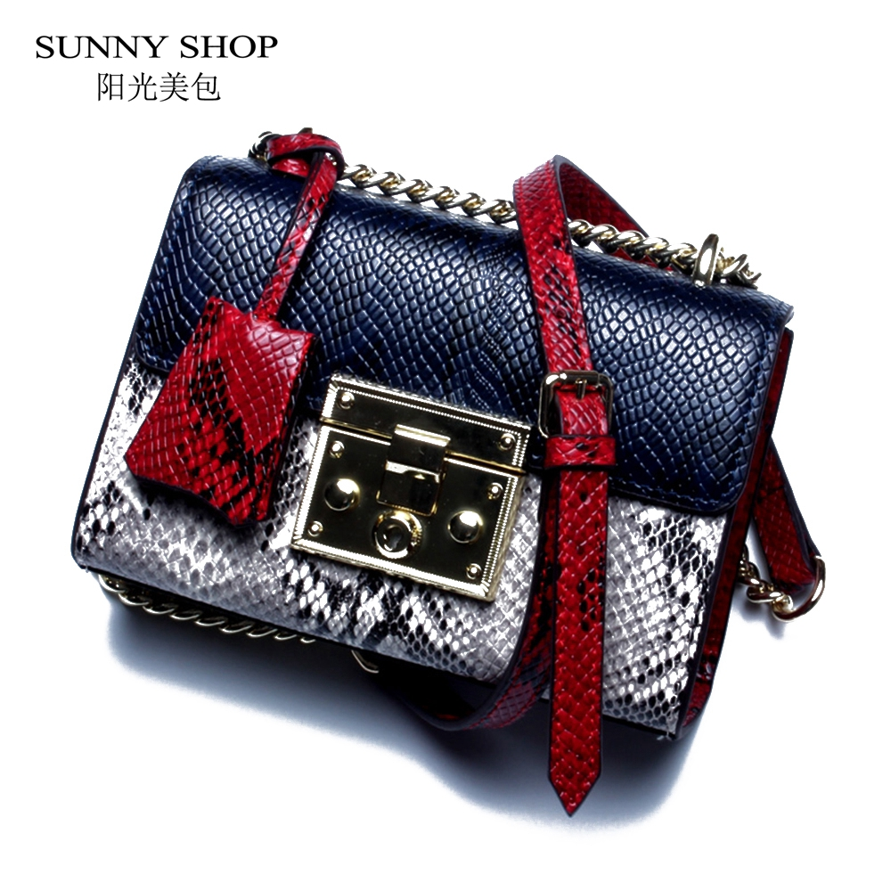 купить SUNNY SHOP Genuine Leather Women Bag With Curb Chain Fashion Serpentine Small Gold Color Chain Shoulder Bag Summer Crossbody Bag недорого