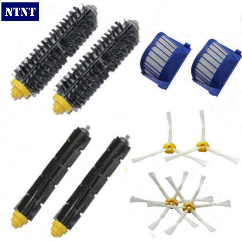 NTNT Free Post New 2 Bristle & Flexible Beater &4 Armed Brush & 2 Aero Vac Filter For iRobot Roomba 600 Series 620 630 650 660 aero vac filter bristle brush flexible beater brush 3 armed side brush tool for irobot roomba 600 series 620 630 650 660