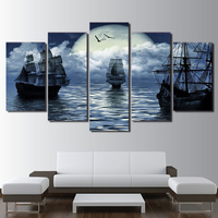 Wall Art Pictures Home Decor Frame Pictures 5 Pieces Fantasy Moon Sea Sailboat Living Room Modern HD Printed Landscape Posters
