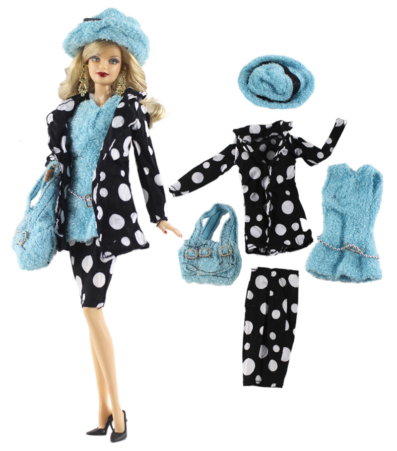 NK One Set Doll Dress Fashion Spot Coat Modern Outfit Daily Casual Wear Hat Bag For Barbie Doll Accessories Gift Baby Toys 91DZ