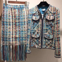 Супер Люкс комплект из 2 предметов Большие размеры твидовый пиджак и комплект с юбкой элегантный chaqueta mujer повседневная юбка с бахромой 5XL 6XL