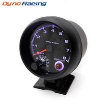 "Тахометр 3 3/"" черный цвет 0-8000 rpm датчик с Интер сдвиг голубой Led автомобилей метр гонки метр YC100139"