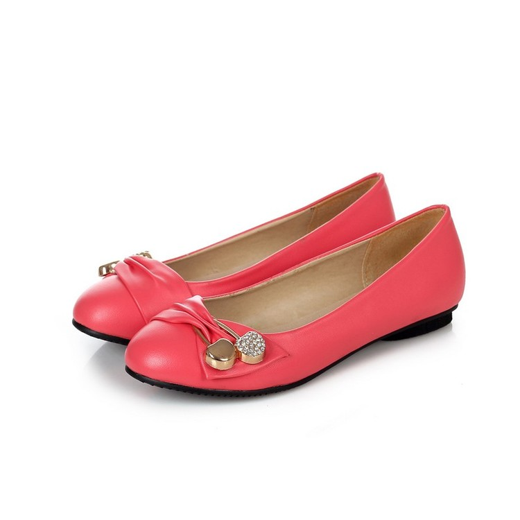 Large Size 34-47 Women's Fashion Shoes Woman Flats Spring Shoes Female Ballet Shoes Metal Round Toe Solid Casual Shoes 08-2 spring autumn solid metal decoration flats shoes fashion women flock pointed toe buckle strap ballet flats size 35 40 k257