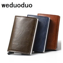 2019 NEW Men And Women Card Holder RFID Aluminium Business Credit Card Holder Crazy Horse PU Leather Travel Card Wallet цена и фото
