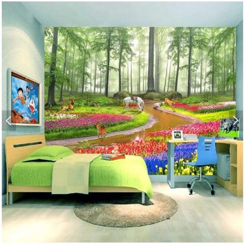 Papier peint de fond d'écran de paysage 3D de fleurs de forêt de rêve de HD à grande échelle