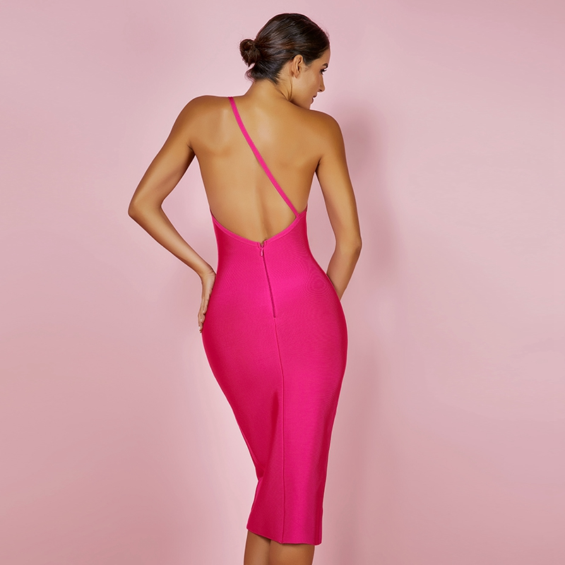 Ocstrade Fashion Summer Celeb Bandage Dress 2019 Hot Pink Backless Party Dress Bodycon Sexy Women One Shoulder Bandage Dress
