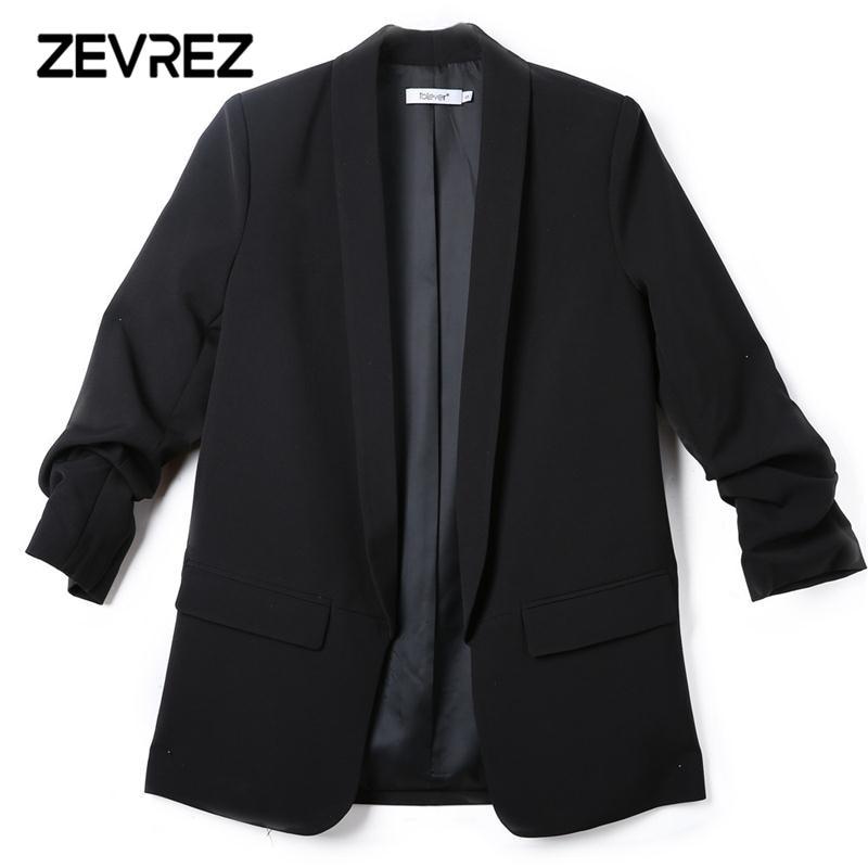 Mode Herbst Frauen Blazer und Jacken Arbeit Büro Dame Anzug Schlank Weiß Schwarz Keine Taste Business weibliche blazer Mantel Zevrez