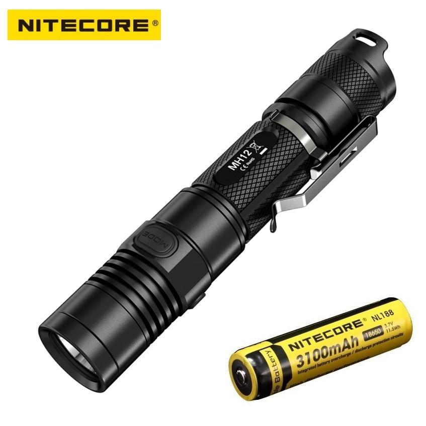 USB Ricaricabile Torcia NITECORE MH10 7 Modalità lume max.1000 fascio distanza 232 metro esterna torch + 18650 2600 mAh batteria