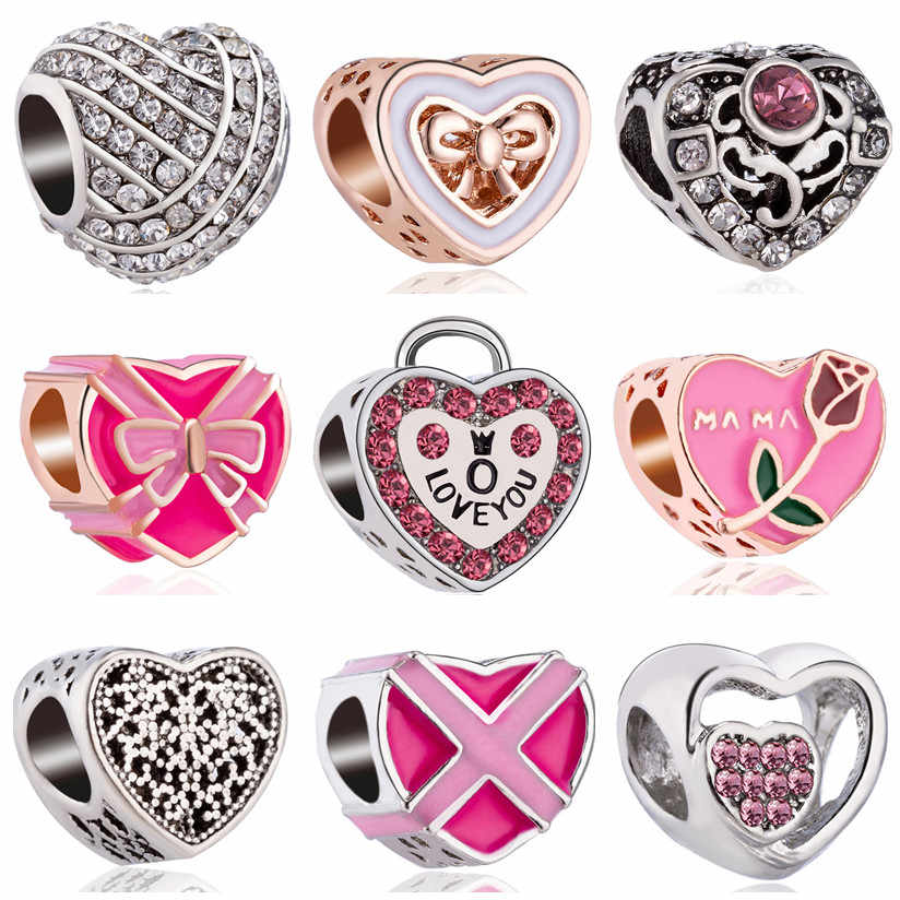 Hot Selling Hollow Rose Flower Bow Lock Crystal Heart Beads Fit Original Pandora Charms Bracelets & Bangles for Women DIY Gifts