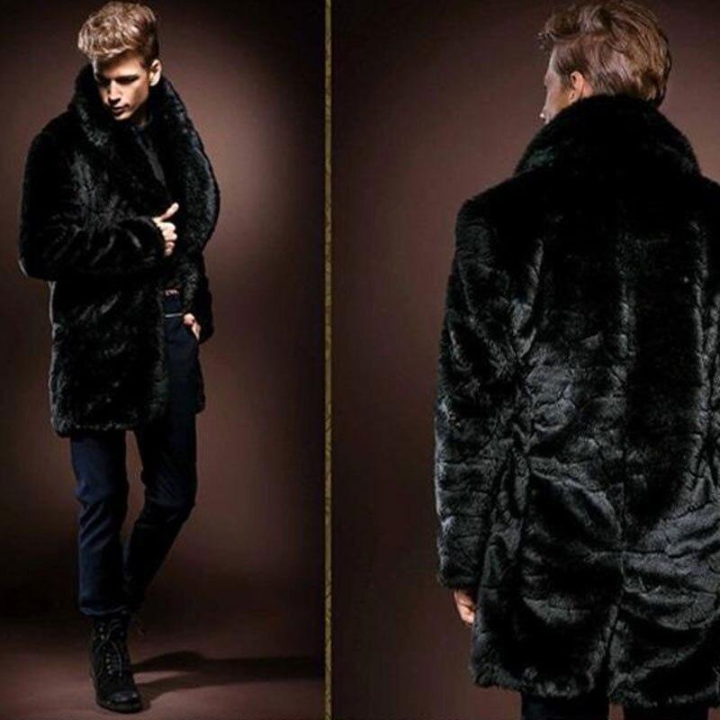 2018 w nowym stylu w zimie, męskie fałszywe futro płaszcz z norek, grubsze płaszcze, długi odcinek i brytyjski styl/darmowa wysyłka w Płaszcze ze sztucznej skóry od Odzież męska na  Grupa 2