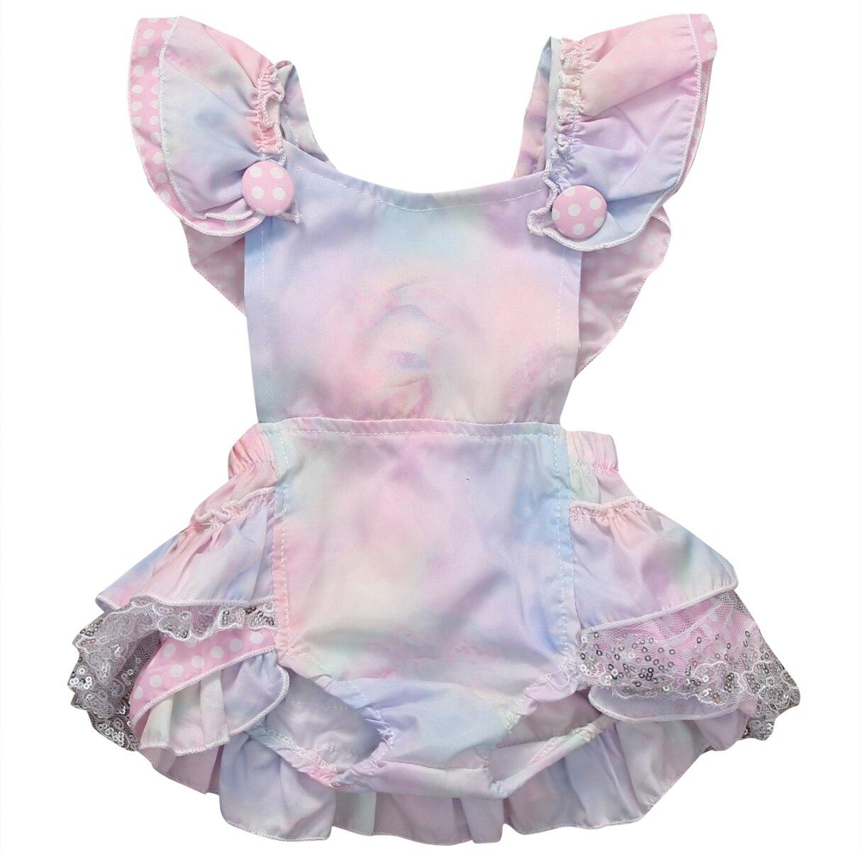 Летний летний костюм для новорожденных девочек с блестками