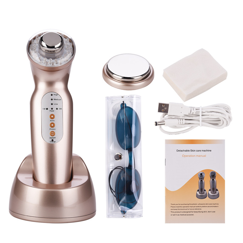 Ultrasonic Body Massager Slimming Face LED Photon Light Therapy Skin Care Wrinkles Removal Acne Scar Blackhead