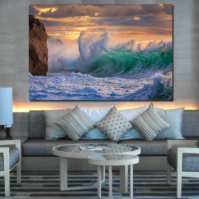 JQHYART Druck Öl Malerei Wand Malerei Wolken Der Sturm Wellen Rock Meer  Himmel Wand Kunst Bild