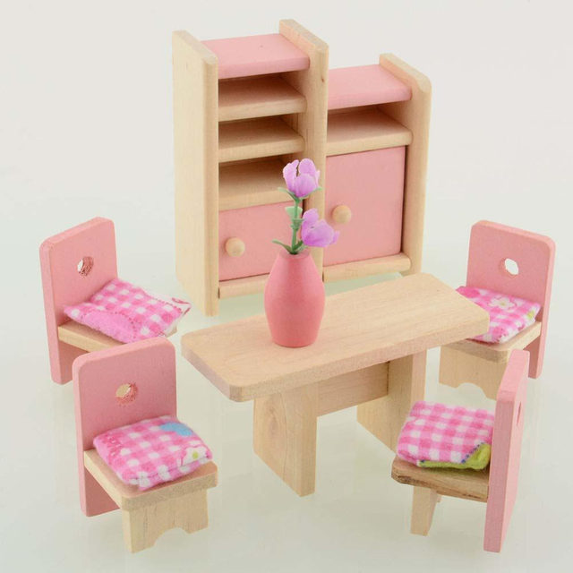 Wooden Dolls House Furniture Miniature Kitchen Bed Living Room Restaurant  Bedroom Kitchen Bathroom For Kid Children Pretend Toy