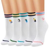 2018 New Fashion Cartoon Flamingo Women Cotton Socks Girl Harajuku Novelty Socks Embroidery Birds Cute Funny Socks Calcetines Women Socks