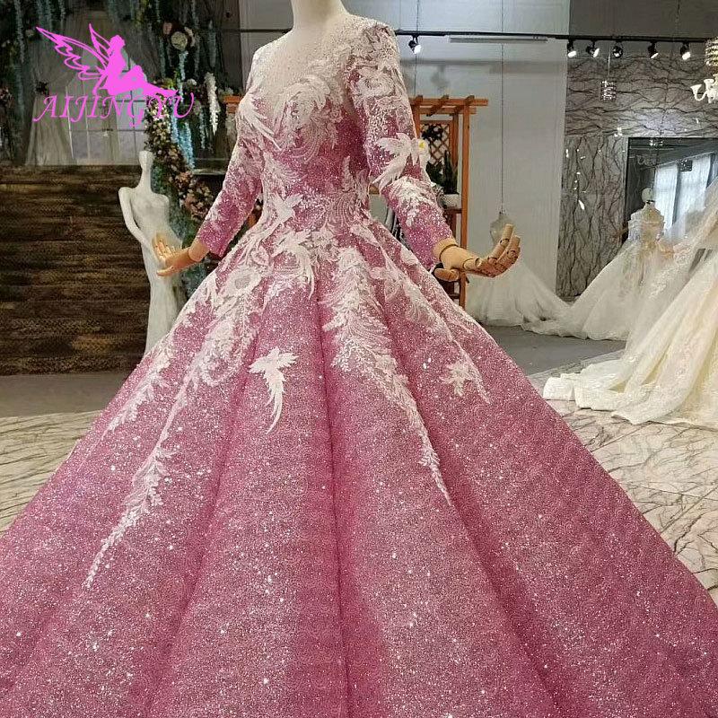 Eerlijk Aijingyu Trouwjurken Dubai Mouw Jassen Bolero Luxe Ivoor Lange Boho Lace Voor Koop Sexy Gown 2019 Bruiloft Decoraties