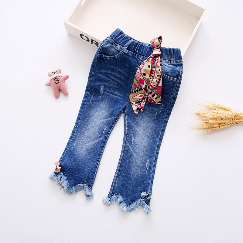 2017 Spring Baby Girls Denim Jeans Floral Print Tassels Full Length Trousers Kids Casual Pant roupas