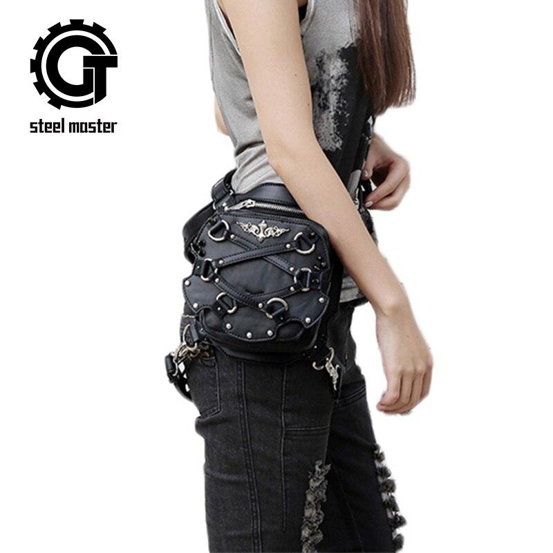 Steampunk 가방 미니 펑크 핸드백 하나의 어깨 가방 작은 레트로 Crossbody 가죽 가슴 가방 남여 단일 어깨 전화 팩