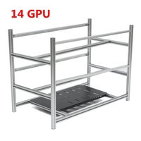 Open Air Mining Rig Stackable Frame Case 10 LED Fans For 14 GPU ETH BTC Ethereum New Computer Mining Case Frame Server Chassis