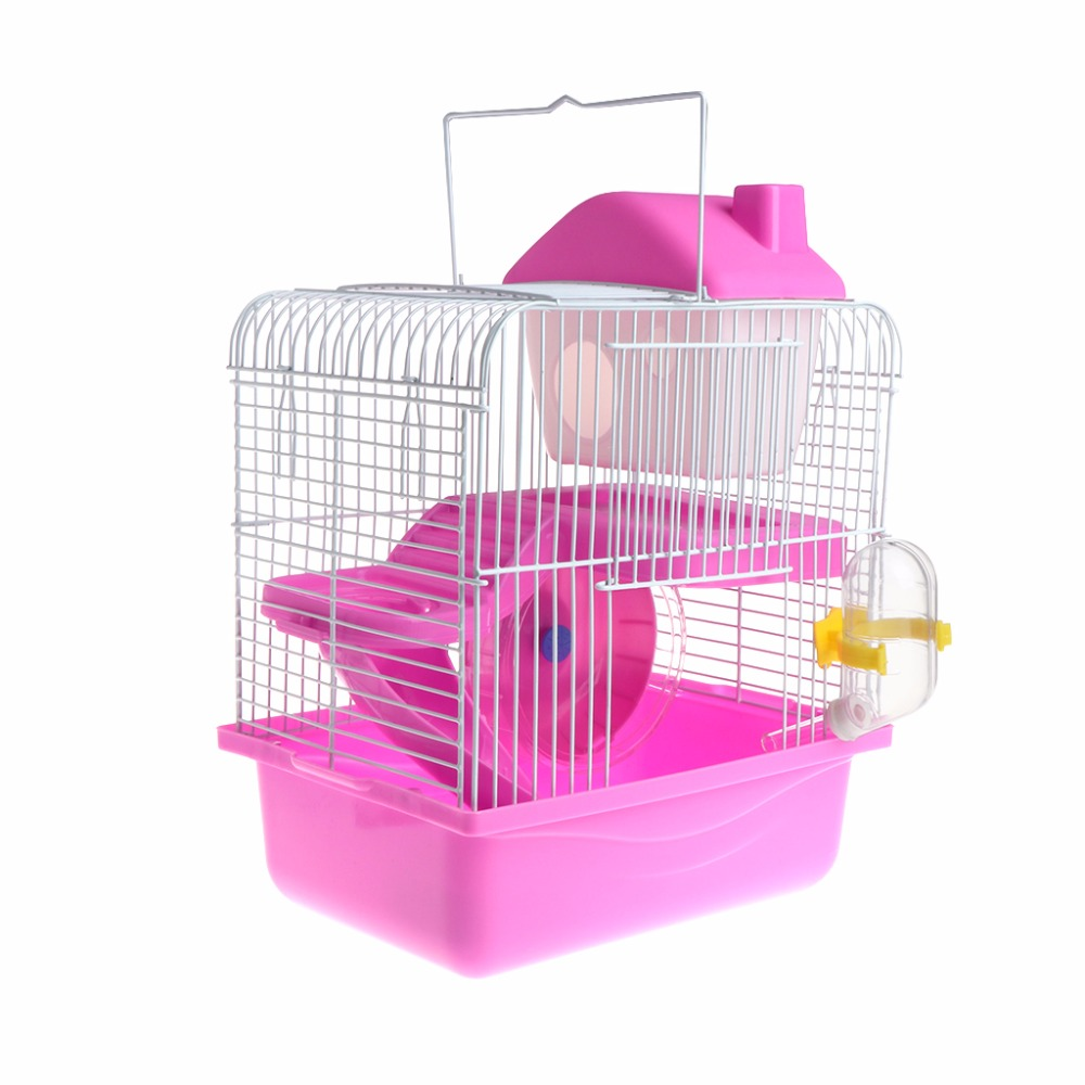 New Comfortable 2 Floors Storey Hamster Cage Mouse House With Slide Disk Spinning Water Bottle 3-Coloor Small Pets Supplies C42