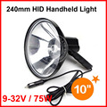 "10"" 75W 240mm HID Xenon Handheld Portable Driving Search Spotlight Hunting Fishing Hiking Camping Emergency Light 5500lm 9-32V"