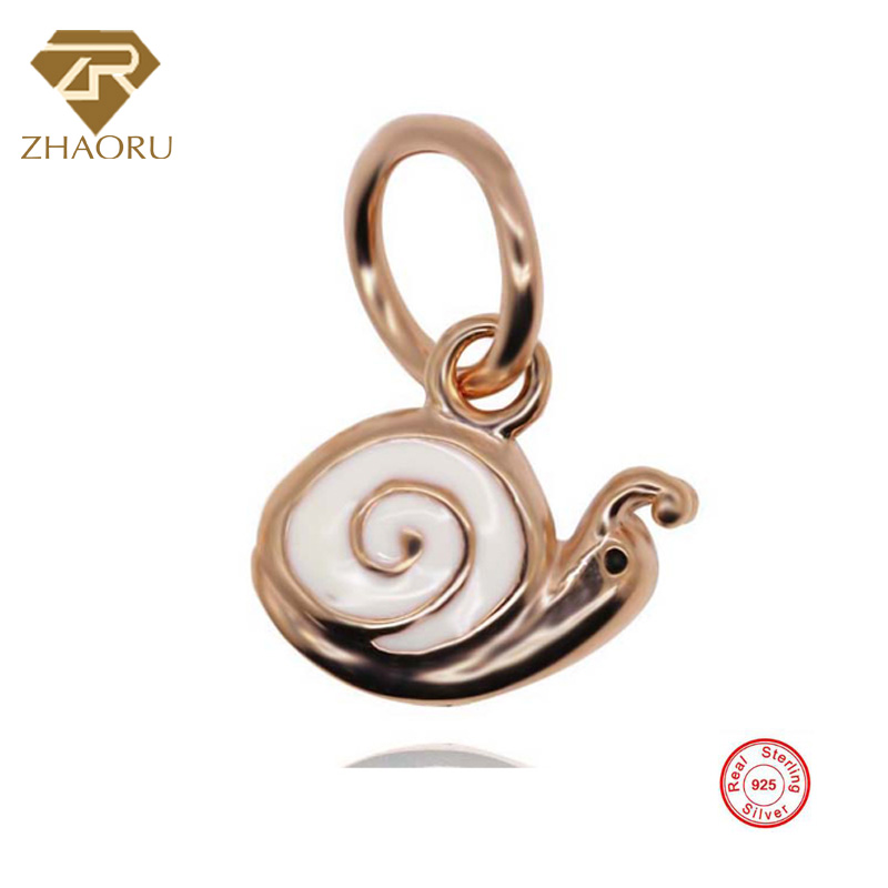 925 Sterling Silver Enamal Pendant Charm Fit Pandora Bracelet & Bangle & Necklace DIY Fine Jewelry Charm None Stone