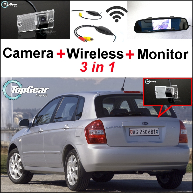 3 in1 Special Camera + Wireless Receiver + Mirror Monitor Easy Backup Parking System For KIA Cerato Sephia Hatchback 2003~2009 wireless pager system 433 92mhz wireless restaurant table buzzer with monitor and watch receiver 3 display 42 call button