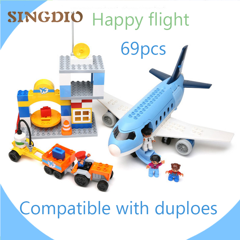 Happy flight 69PCS building blocks DIY Early Learning Baby toys self-locking bricks educational toys compatible with Duplo educational diy toys for children building bricks for girl restaurant self locking bricks compatible with lego