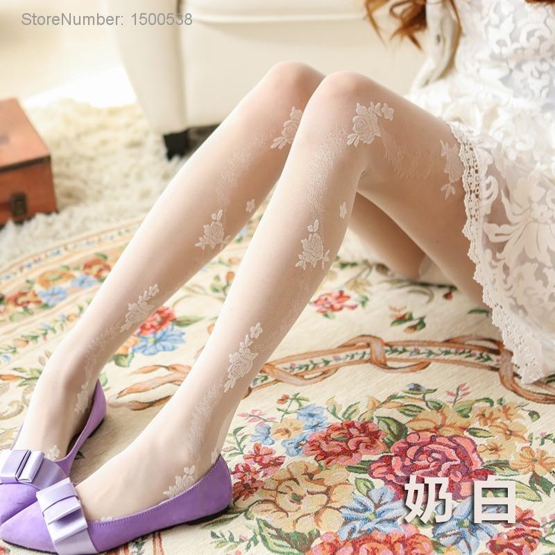 Cheap Sale Summer Thin Tights Women Anti hook Wire Bottoming Pantyhose Sweet Lolita Girls Flower Stockings in Tights from Underwear Sleepwears