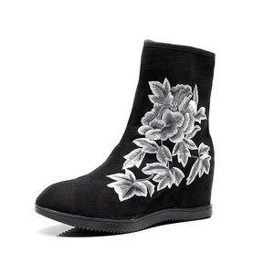 Image 2 - Veowalk Textile Suede Women Embroidered Short Ankle Boots 6.5cm Hidden Wedge Vintage Ladies Comfort Soft Cotton Booties Shoes