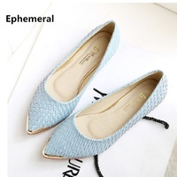 Lady's weaving Glitter Flats Pointed toe Plus size Loafers Women 34 48 Blue Back White 2018 New arrivals Breathable Slip ons
