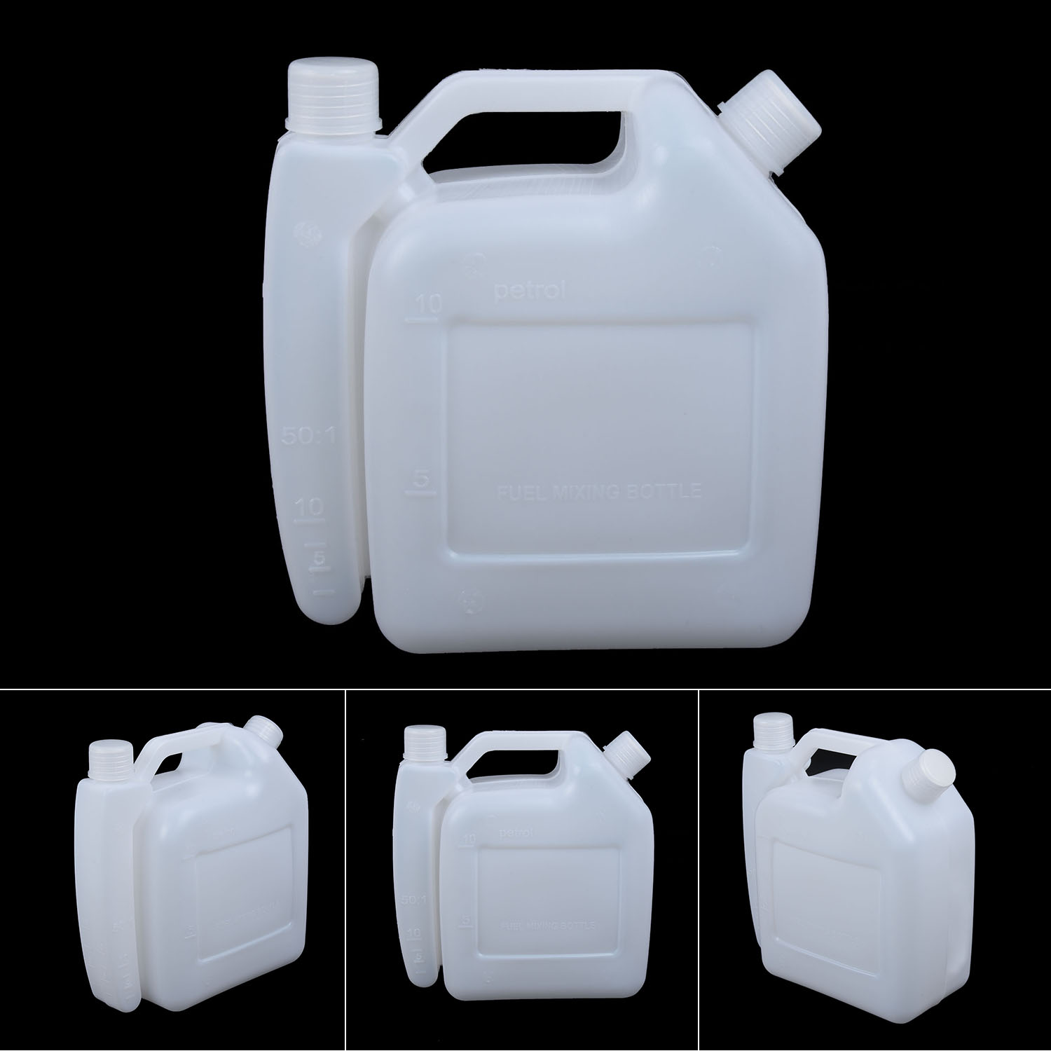 Fuel Petrol Oil Mixing Bottle Portable 1L 25:1 50:1 Container Storage 2 Stroke Oil Engine Durable