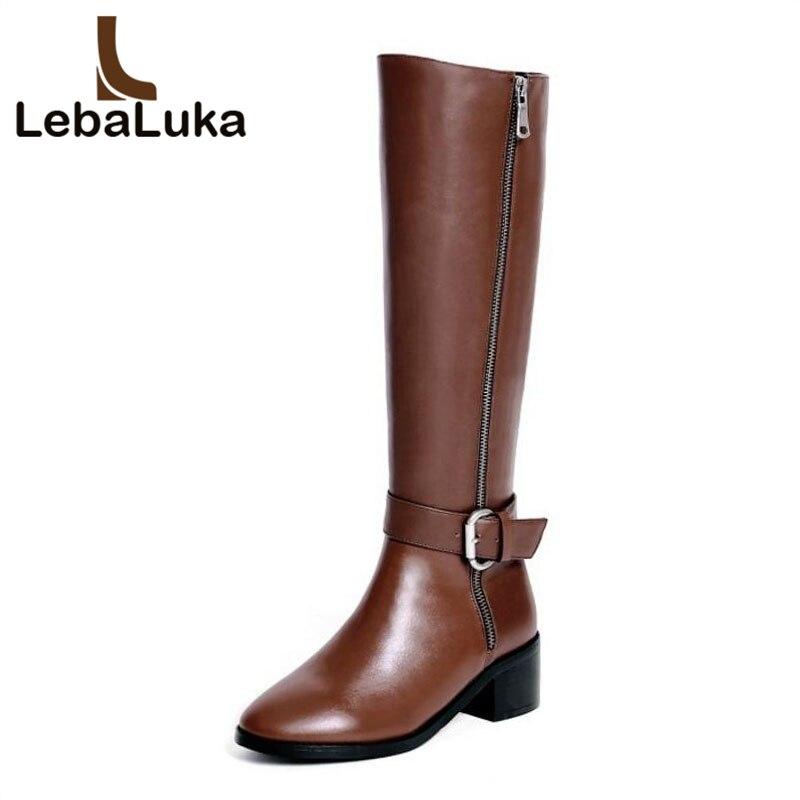 eb11c08f Piel Negro Genuino Lebaluka De Invierno Tamaño Zapatos Tacón Calzado Cuero  Mujeres Las Metal Botas marrón ...