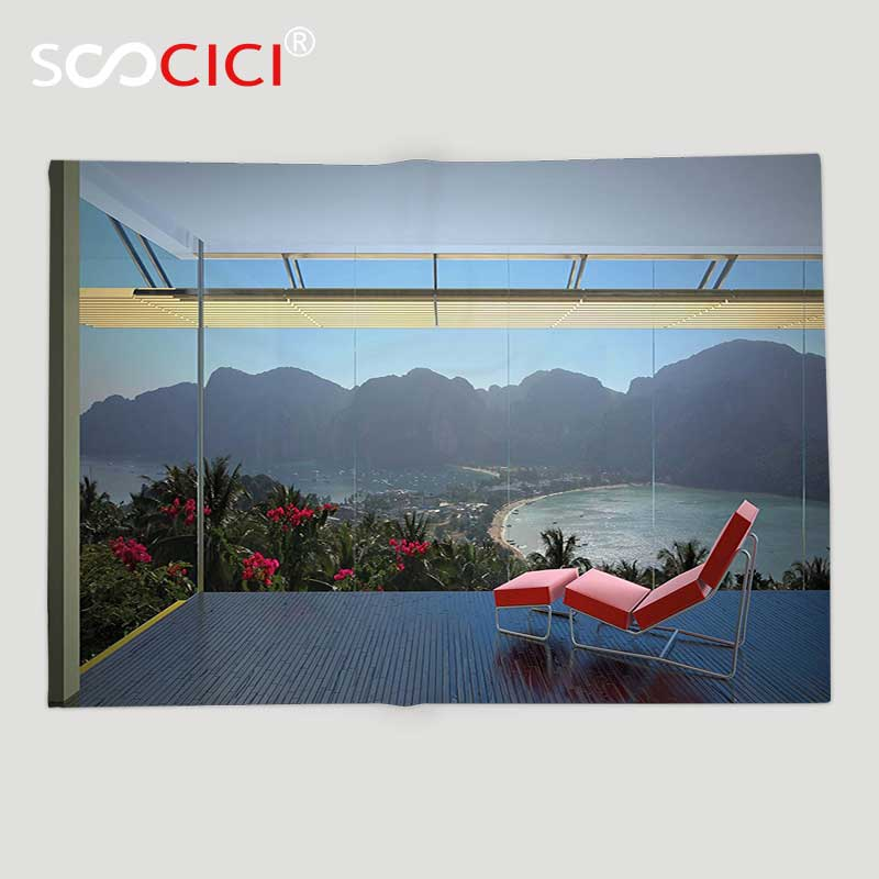 Custom Soft Fleece Throw Blanket Landscape Tropical Island Flowers Forest Mountains Beach Window View Red Charcoal Grey Blue