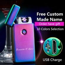 Encendedor USB de nombre personalizado con firma, mechero electrónico recargable con USB, mechero electrónico de Plasma del cigarrillo Personal, encendedor de puros de doble arco