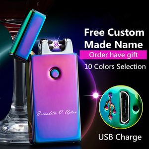 Image 1 - Signature Custom Name USB Lighter Personl Rechargeable Electronic Lighter Cigarette Plasma Personal Cigar Lighter Dual Arc Palse