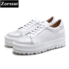 {Zorssar} 2017 Fashion Genuine leather Womens Flats platform Casual shoes women ladies White shoes Lace up leisure woman shoes