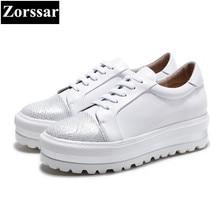 {Zorssar} 2017 Fashion Genuine leather Womens Flats platform Casual shoes women ladies White shoes Lace up leisure woman shoes